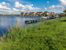 Waterfront family homes in Almere, Netherlands Royalty Free Stock Photo
