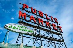 Pike Place Public Market sign in Seattle Washington stock photo