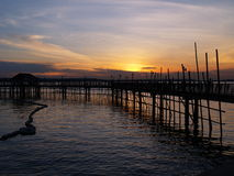 Waterfront Fishing Village. Sunrise view from a stilt fishing village Royalty Free Stock Photography