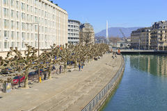 Waterfront in Geneva Switzerland Stock Photos