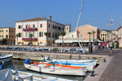 Waterfront harbor area Bardolino Lake Garda Italy Stock Images