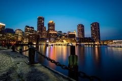 Waterfront of Boston at night. The waterfront and harbour in Boston at night Royalty Free Stock Photo