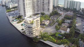Waterfront highrise in South Florida stock video