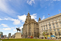 Waterfront historic buildings in Liverpool. Royalty Free Stock Photo