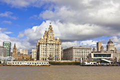 Waterfront historic buildings in Liverpool. Royalty Free Stock Photos