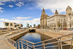 Waterfront historic buildings in Liverpool. Royalty Free Stock Image