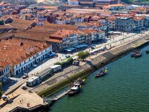 The waterfront, Vila Nova de Gaia, Portugal. The waterfront of the historic city of Vila Nova de Gaia. This city lies on the opposite side of the River Douro to stock photography