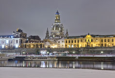 Dresden waterfront at night in winter Royalty Free Stock Photography