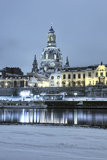 Dresden waterfront at night in winter Royalty Free Stock Photos