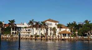 Waterfront Home. Luxury waterfront home and dock Royalty Free Stock Photography