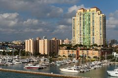 Waterfront Home. Luxury waterfront homes and marina Stock Images