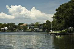 Waterfront Home. S along the Intercoastal Waterway in St. Petersburg, Floirda Stock Photos