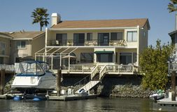 Waterfront home an dock Royalty Free Stock Image