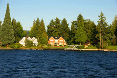 Waterfront home on Lake Washington Stock Photo