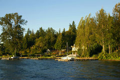 Waterfront home on Lake Washington Royalty Free Stock Images