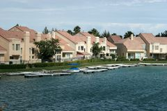 Waterfront homes Stock Photos