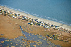 Waterfront homes aerial Royalty Free Stock Photo