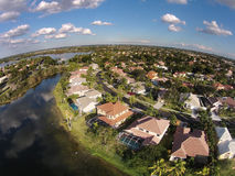 Waterfront homes aerial view Royalty Free Stock Images