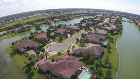 Waterfront homes aerial view stock video footage