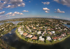 Waterfront homes aerial view Stock Photography