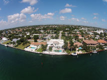Waterfront homes in Boca raton, Florida. Aerial view of waterfront homes in Boca Raton Florida Stock Image