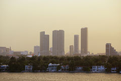 Waterfront homes in Miami with Downtown in the background Royalty Free Stock Photography