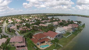 Waterfront homes seen from above stock video