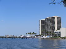 Waterfront Hotel. A hotel and a pier located on the Gulf of Mexico in sunny Fort Myers, Florida Royalty Free Stock Photo