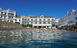 Waterfront hotel beach Cadaques Costa Brava Spain Royalty Free Stock Image