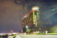 Boston waterfront hotel. Waterfront hotel in Boston at night Stock Photography