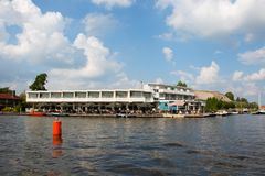 Waterfront hotel in Friesland stock image