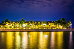 Waterfront hotel at night, in Key West, Florida. Royalty Free Stock Photos