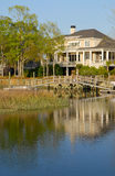 Waterfront House. New Waterfront House with Dock Stock Photos