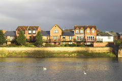 Waterfront Houses. Modern waterfront houses in a U.K. city stock photos