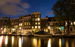 Waterfront Houses In Amsterdam At Night Royalty Free Stock Photography