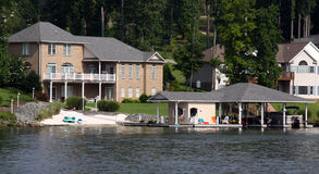 Waterfront Houses with Boathouse Royalty Free Stock Image