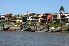 Waterfront houses at Brisbane Royalty Free Stock Images