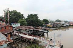 Waterfront houses at Chao Phraya River Royalty Free Stock Photos