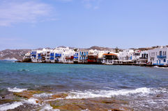 Waterfront houses on famous Mykonos beach, greece Royalty Free Stock Photography