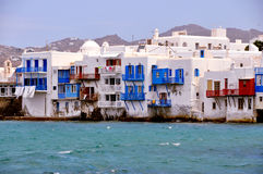 Waterfront houses on famous Mykonos beach, greece Stock Image
