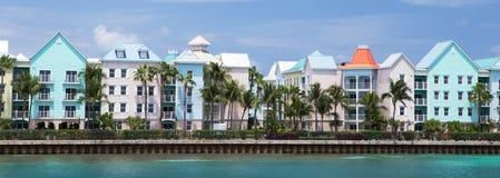 Waterfront Houses, Paradise Island, Nassau, the Bahamas. Royalty Free Stock Image