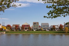 Waterfront Houses in Planned Community Stock Photos