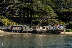 Waterfront houses on Tomales bay along highway one Stock Photography
