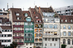 Waterfront houseses along Rhine river in Basel Stock Photography