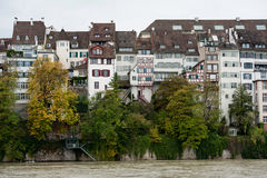 Waterfront houseses along Rhine river in Basel Stock Photos