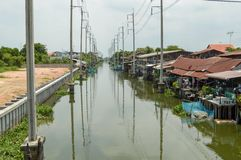 Waterfront in Huatakea floating market Royalty Free Stock Image