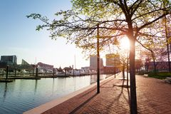Waterfront of Inner Harbor in Baltimore, USA stock photos