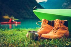 Waterfront Kayak Camping Stock Photography