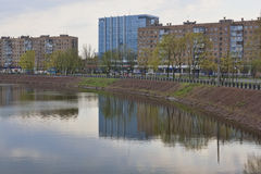 On the waterfront of Kharkiv. View from the bridge. KHARKIV, UKRAINE - APRIL 26, 2015: On the waterfront of Kharkiv. View from the bridge Stock Photography