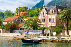 Waterfront in Kotor after storm Stock Images